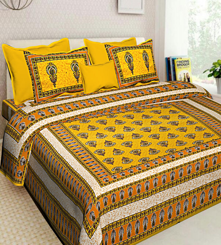 Mustard Yellow Cotton Jaipuri Bedsheet-586
