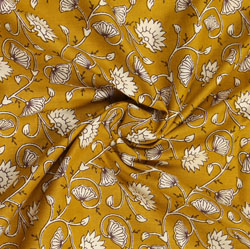 Mustard-Yellow White Block Print Cotton Fabric-16017