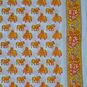 Mustard Yellow and Orange elephant and horse traditional Block Print fabric