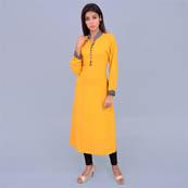 Musturd Yellow Rayon Kurti With Pocket Style-22019