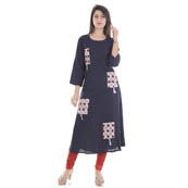 Navy Blue 3/4 Sleeve Four Pocket Patch Pattern Rayon Kurti-3069