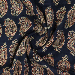 Navy-Blue Beige Block Print Rayon Fabric-16157