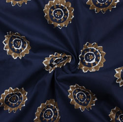 Navy-Blue Brown Block Print Cotton Fabric-16057