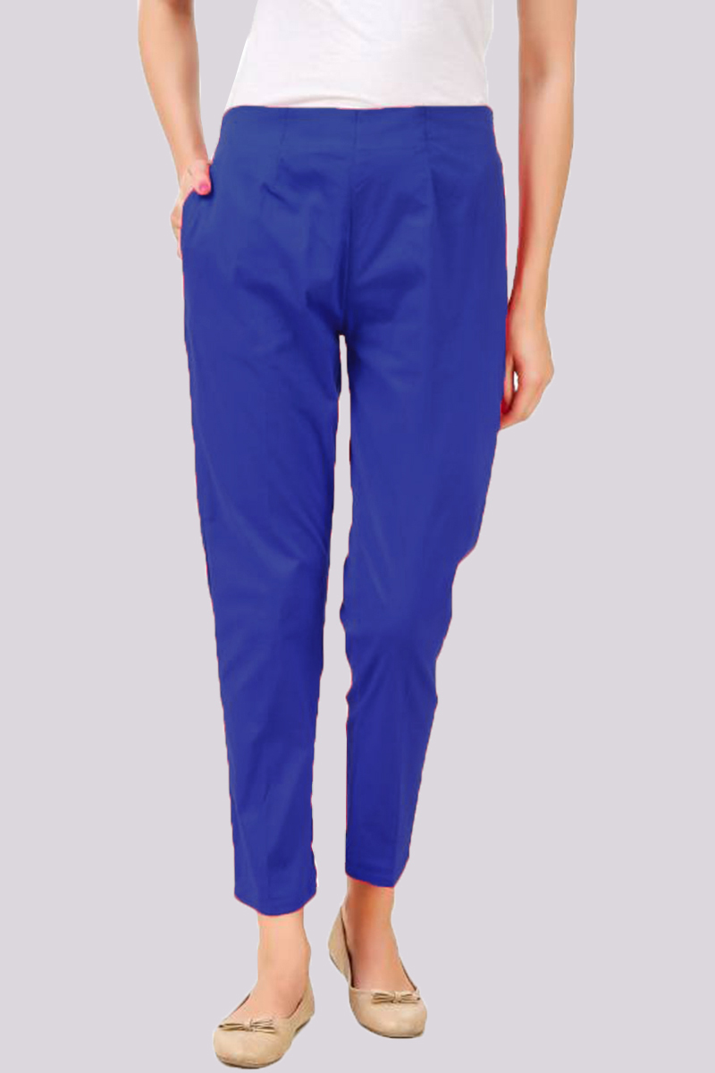 Navy Blue Cotton Flex Pant with Side Chain and Pocket-33387