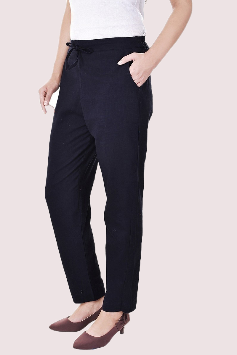 Navy Blue Cotton Slub Solid Women Pant-33299