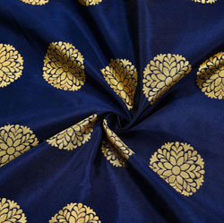 Navy-Blue Golden Circle Brocade Silk Fabric-12048