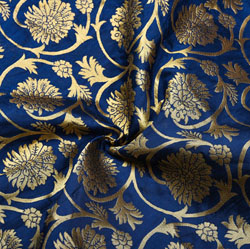 Navy-Blue Golden Floral Brocade Silk Fabric-12188