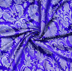 Navy-Blue Golden Kinkhab Banarasi Silk Fabric-12618