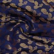 Navy Blue Golden Music Instrument Brocade Silk Fabric-9349