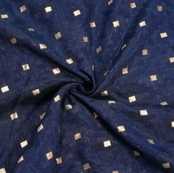Navy-Blue Golden Polka Brocade Silk Fabric-12324