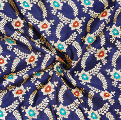 Navy-Blue Golden and Red Floral Brocade Silk Fabric-12535
