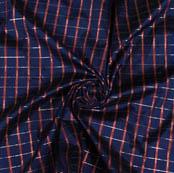 Navy Blue Maroon Checks Taffeta Silk Fabric-9460