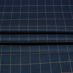Navy Blue Mutsard Checks Wool Fabric-90226