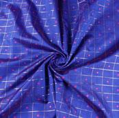 Navy Blue Pink Zari Dot Silk Fabric-9467