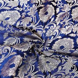 Navy-Blue Silver Kinkhab Banarasi Silk Fabric-12612