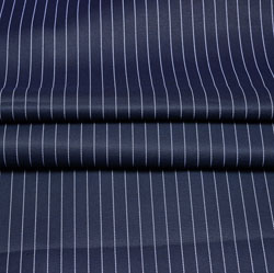 Navy Blue White Stripe Wool Fabric-90184