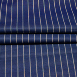 Navy Blue White Stripe Wool Fabric-90197