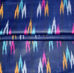 Navy Blue White and Cyan Ikat Cotton Fabric-11128
