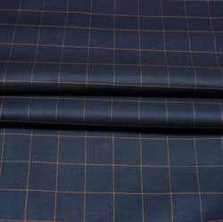 Navy Blue Yellow Checks Wool Fabric-90207
