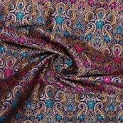 Navy Blue Yellow and Golden Floral Banarasi Silk Fabric-9328