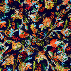 Navy Blue Yellow and Green Multi Work Georgette Embroidery Fabric-19419