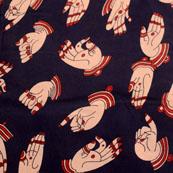 Navy Blue and Cream Hand Mudra Design Kalamkari-Screen Fabric-5502