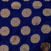 Navy Blue and Golden Flower Brocade Silk Fabric by the yard