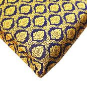 Navy Blue and Golden Flower Pattern Brocade Silk Fabric-8159