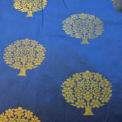 Navy Blue and Golden Tree Pattern Brocade Silk Fabric-8209