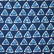 Navy Blue and Sky Blue Triangle Bagru Print Cotton Fabric