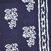 Navy Blue and White Sanganeri Print Cotton Fabric