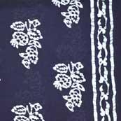 Navy Blue and White Sanganeri Print Cotton Fabric