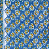 Navy Blue and Yellow Flower Pattern Indian Block Print Fabric by the yard