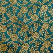 Navy Green and Golden Floral Brocade Silk Fabric by the yard