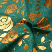 Navy Green and Golden Flower Pattern Brocade Silk Fabric-5391