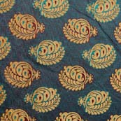 Ocean Blue and Golden Floral Brocade Silk Fabric by the yard