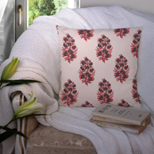 Off White-Black and Red Cotton Cushion Cover-35004