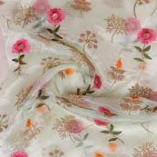 Off White Pink Embroidery Organza Silk Fabric-51645