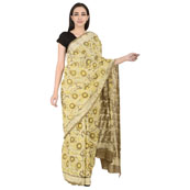 Off White and Cream Cotton Block Print Saree-20108