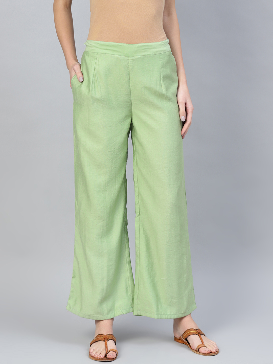 Olive Green Cotton Silk Palazzo Pant-34257