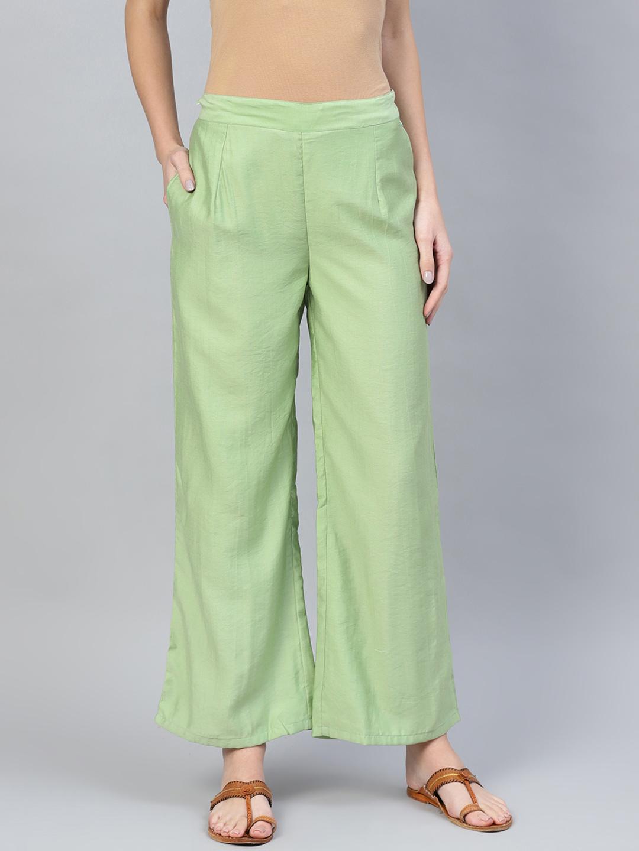 Olive Green Cotton Silk Palazzo Pant-34257