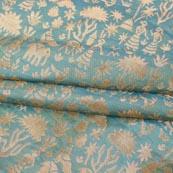Olive Green Golden Floral Banarasi Silk Fabric-9327