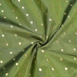 Olive Green Golden Polka Zari Taffeta Silk Fabric-12325
