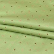 Olive Green Golden Zari Dot Brocade Silk Fabric-9247