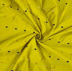 Olive-Green Golden and Blue Polka Zari Taffeta Silk Fabric-12636