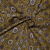 Olive Green-Gray and White Floral Design Ajrakh Block Fabric-14033