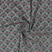 Olive Green Pink Block Print Cotton Fabric-14802