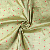 Olive Green Pink Zari Dot Silk Fabric-9465