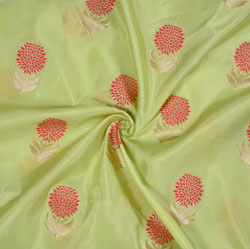 Olive-Green Pink and Golden Floral Brocade Silk Fabric-12680