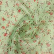 Olive Green Red Digital Organza Silk Fabric-51578